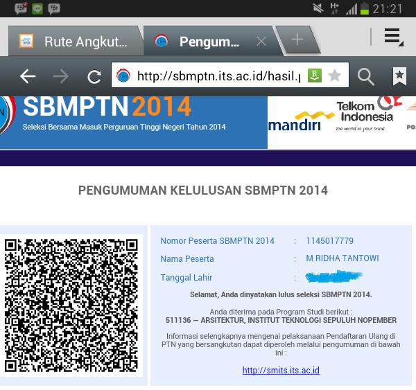 Pengumuan SBMPTN, lulus, lolos, arsitektur, ITS, pilihan dua, pengalaman